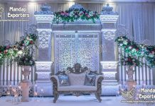 Canadian Wedding White Theme Stage Decoration