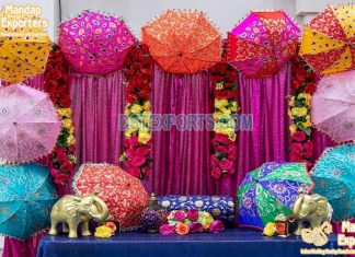 Colorful Mehndi Stage Embroidered Umbrellas Decoration