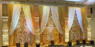Golden Wedding Stage Backdrop Frames