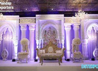 Majestic White Theme Wedding Stage Decoration