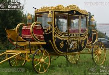 Royal Black Gold Wedding Horse Coach Carriage