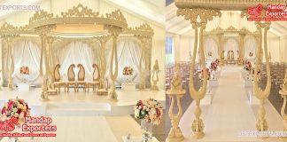 Royal Crown Wooden Wedding Indoor Mandap Decor