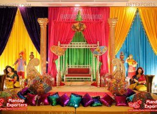 Unique Bhangra Theme Sangeet Stage Decoration